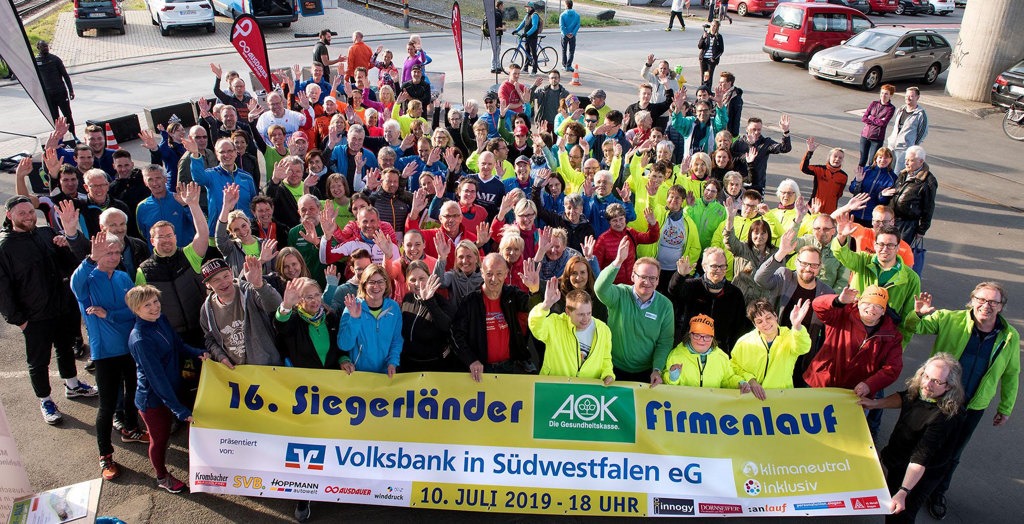 Foto von der Firmenlauf Saisoneröffnung 2019 am anlauf-Büro in Siegen